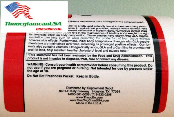 CLA ( No 4.2 ) - CLA SUPREME 4.2 là viên uống giảm mỡ bụng cực mạnh, hiệu quả, an toàn của Mỹ