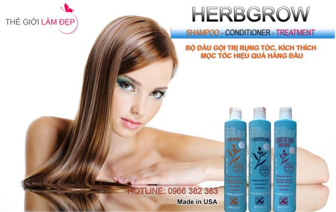 Herbgrow Shampoo and Herbgrow Leave in Hair Treatment - Dầu gội Trị Rụng Tóc bộ 2 sản phẩm