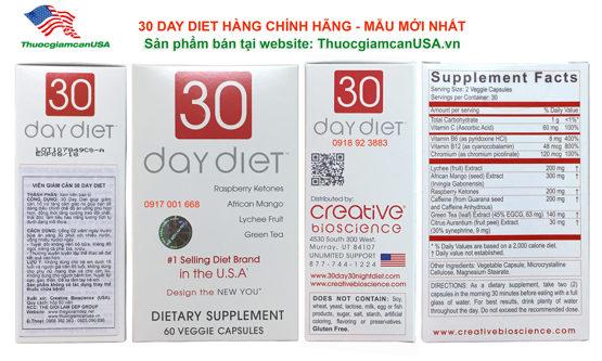 Viên uống giảm cân 30 Day Diet (USA) giảm cân hiệu quả, tốt nhất